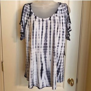 Karen Kane Tops - Blue White Top KAREN KANE Cold Shoulder Tie Dye